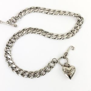 Juicy Couture Starter Necklace Silver Puff Heart